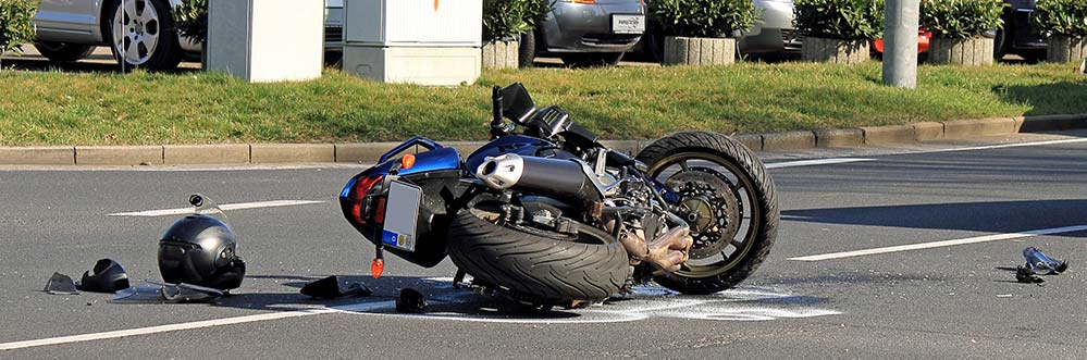 Motorcycle accident on a side street in Denver, Colorado.