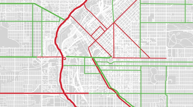 map of heavy traffic in Denver, Colorado