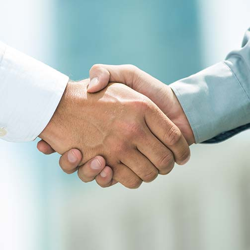 Shaking hands in partnership
